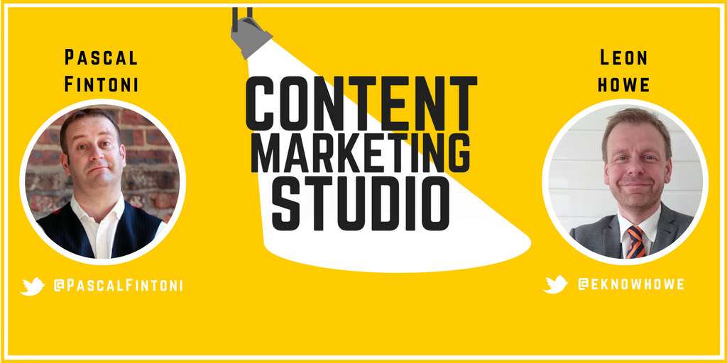 Photos of Pascal Fintoni and Leon Howe With Image Of A Spotlight And Text Overlay Which Reads Content Marketing Studio