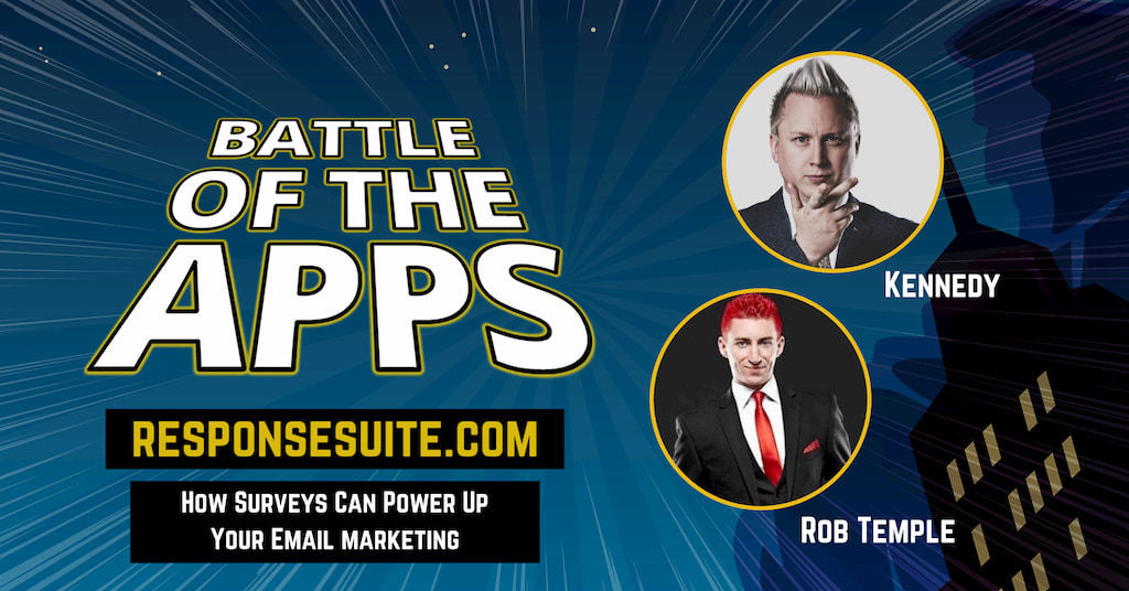 Rob Temple and Kennedy from responsesuite on Battle of the Apps with Pascal Fintoni